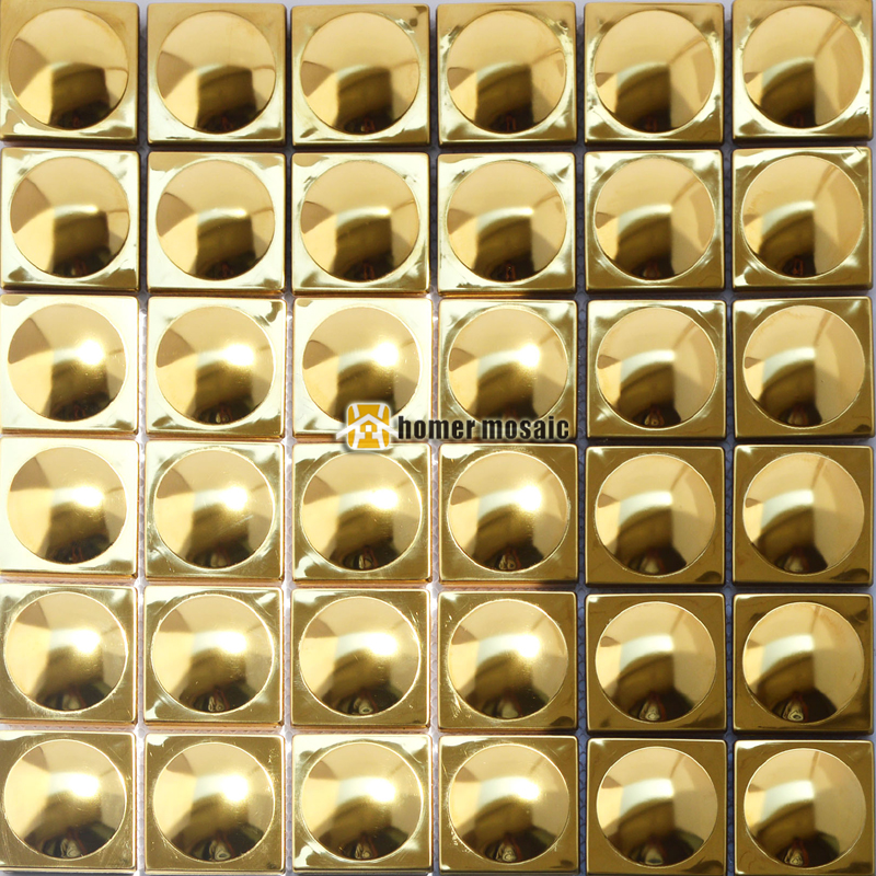3D golden stainless steel metal mosaic tile moder living room kitchen backsplash bathroom shower metal tiles FREE SHIPPING glossy shiny finish stainless steel mosaic tile mesh mounted kitchen backsplash tiles metal mosaic tile home decor sticker sa202