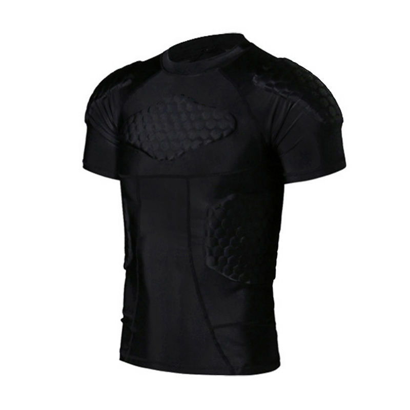 Men's Boys Padded Compression Shirt Rib Protector For Football Paintball