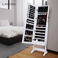 Langria elegante livre de pé lockable mirrored jóias lockable organizador com espelho para sala estar