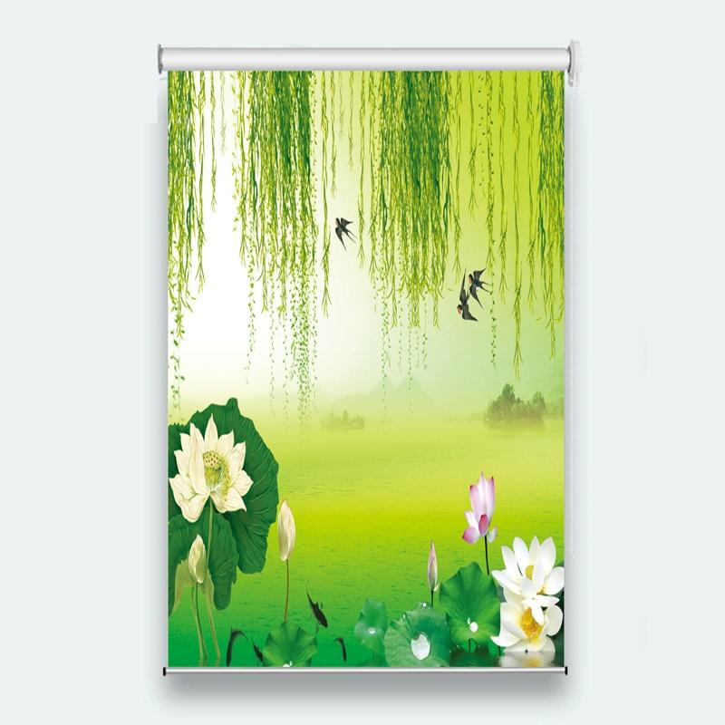 Bathroom Office lift shade shading waterproof pull curtain nature scenery custom curtains