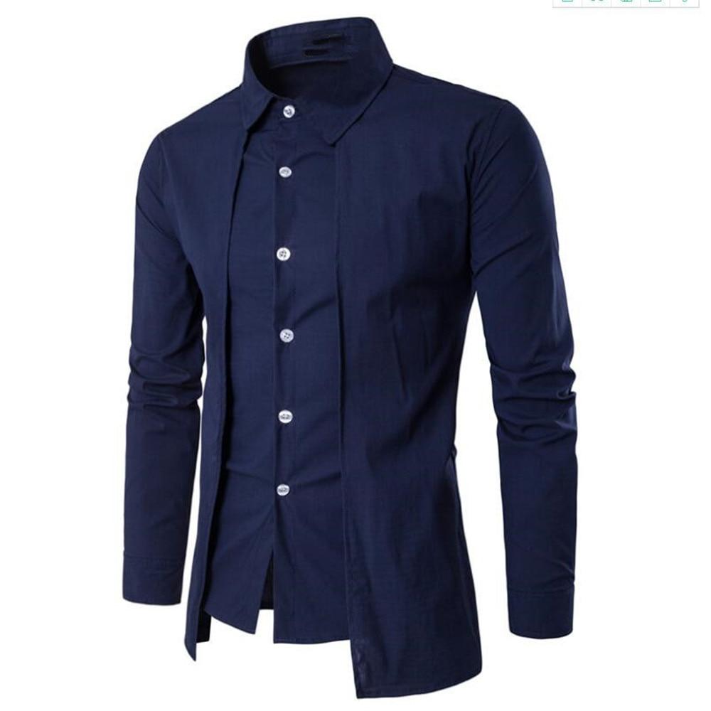 Elegant Man Blue Shirt Gentleman Dinner Party Shirts Long Sleeve Novelty Placket Male Blouse Tide Streetwear 2019 New Boy Tops-in Tuxedo Shirts from Men's Clothing