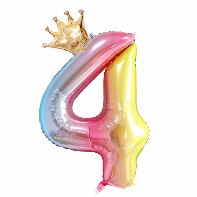 2 шт. 32 дюйма градиентные радужные воздушные шары с короной для маленьких мальчиков и девочек 1 шарики ко дню рождения Единорог вечерние неоновые Стикеры