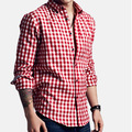 2016 Summer Style Men's Casual Plaid Shirts Stand Collar Dress Shirts Camisas Slim Fit Camisa Social Masculina 6colors HY554