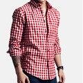 2016 Verão Estilo Casual dos homens Camisas Xadrez Gola Camisas De Vestido Artigo Camisas Slim Fit Camisa Social Masculina 6 cores HY554