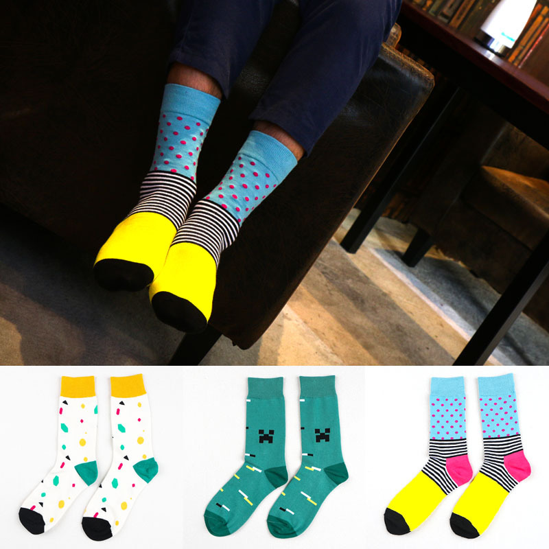 Colour Stripes Dots Men Cotton Crew Happy Socks Casual Harajuku Business Dress Designer Brand Novelty White Blue