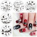 Christmas Nail Stamping Plate XMAS 1 Set 5pcs Stamp Kits Nails Art Round Stainless Stamping Template DIY Manocure Tools