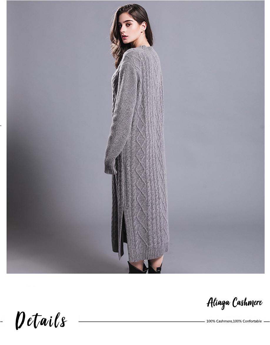 Long Sexy Dress Women 100% Cashmere Ribbed Knitted Sweater Dresses Female O-neck Long Sleeves Knitwear Autumn Winter Dress 18 5