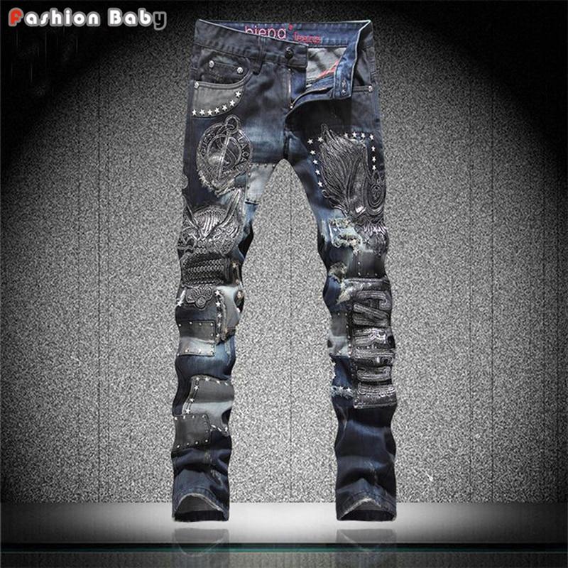 Punk Men's Rivets Embroideried Designer Blue Straight Jeans Pant Slim fit Fashion Euro American Streetwear Jeans New 2016 leopard print jeans men fashion designer summer jeans brand straight slim slacks jeans top male raw pant plus size 29 36