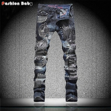 Punk Men's Rivets Embroideried Designer Blue Straight Jeans Pant Slim fit Fashion Euro American Streetwear Jeans New