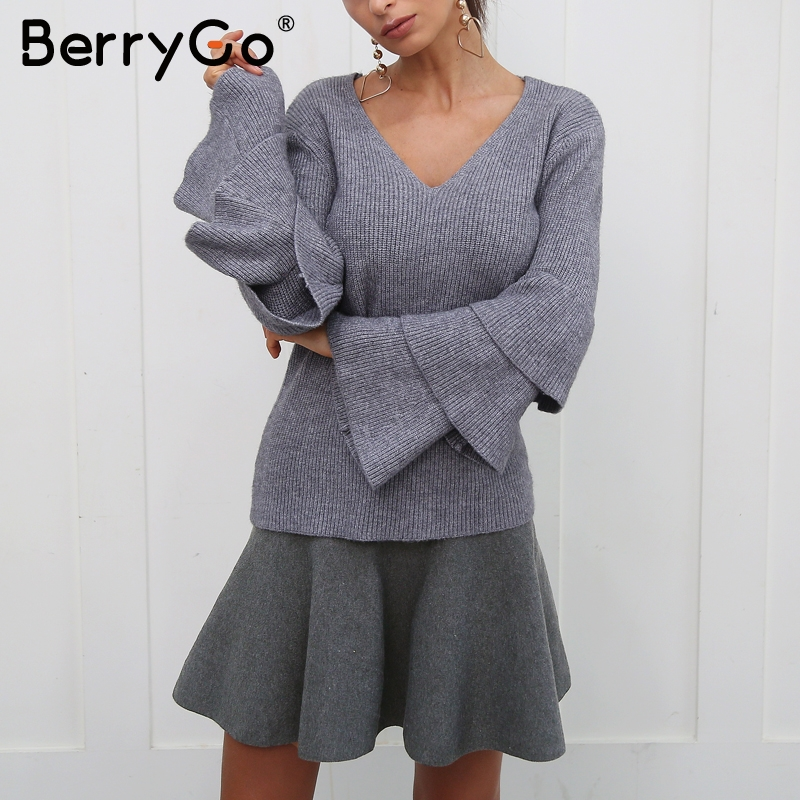Image 3 - BerryGo Draped pleated knitted mini skirts Women winter elegant short skirt High waist skirts female 2018-in Skirts from Women's Clothing
