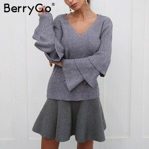 Image 3 - BerryGo Drappeggiato pieghettato lavorato a maglia mini gonne Delle Donne di inverno elegante gonna corta a vita Alta gonne donna 2018