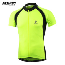 ARSUXEO Summer Mens Short Sleeve Cycling Jersey Breathable Mtb Clothes Quick Dry Bicycle Bike Tops Maillot Cycliste