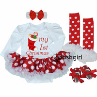 My First Christmas Baby Girl Clothes Set Lace Romper Dress Headband Leg Warmers Crib Shoes Girls