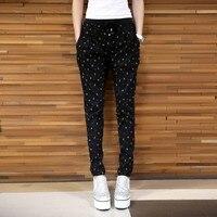 Moda Nowy Punkt Fali Luźne Spodnie Tie Elastyczny Pas Ołówek Harem Spodnie Na Co Dzień