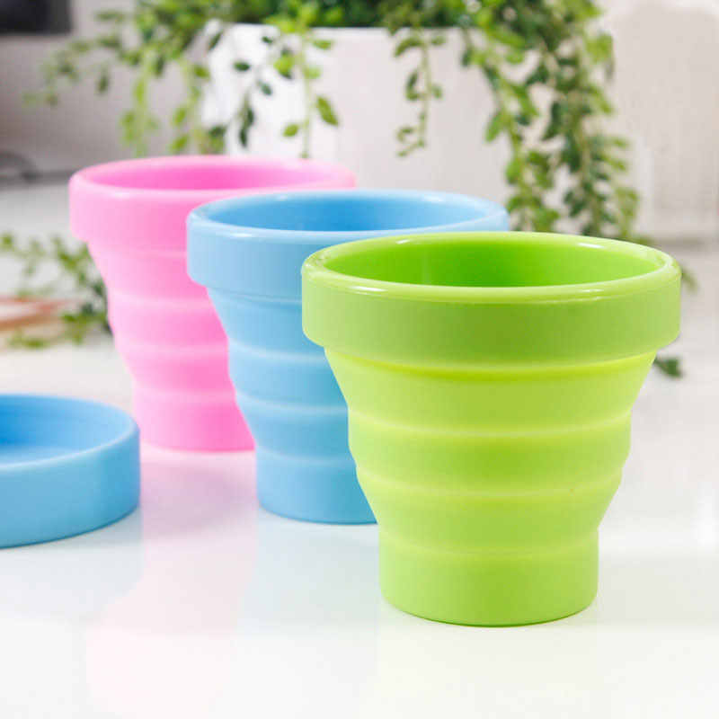 Silicone Collapsible Travel Cup - Silicone Folding Camping Cup with Lids - Expandable Drinking Cup Set - BPA Free Portable Gra