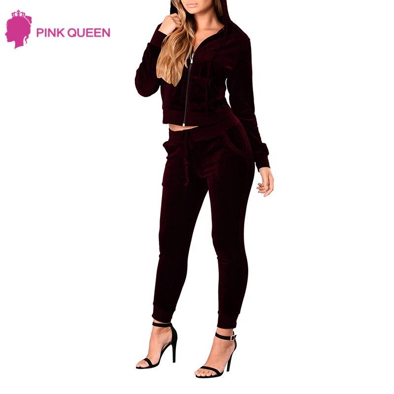 Pink Queen Summer Set Women Sweat Pants 2 Piece Set Conjuntos De Mujeres Sportwear Women Fitness Clothing Velvet Top Set Woman