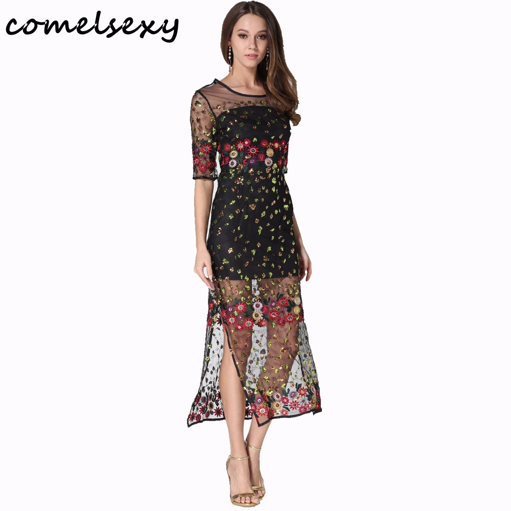 Women Summer Dress 2017Boho Vintage Floral Embroidery Lace Mesh Long Straight Maxi Dresses Casual See Through Vestidos Plus Size