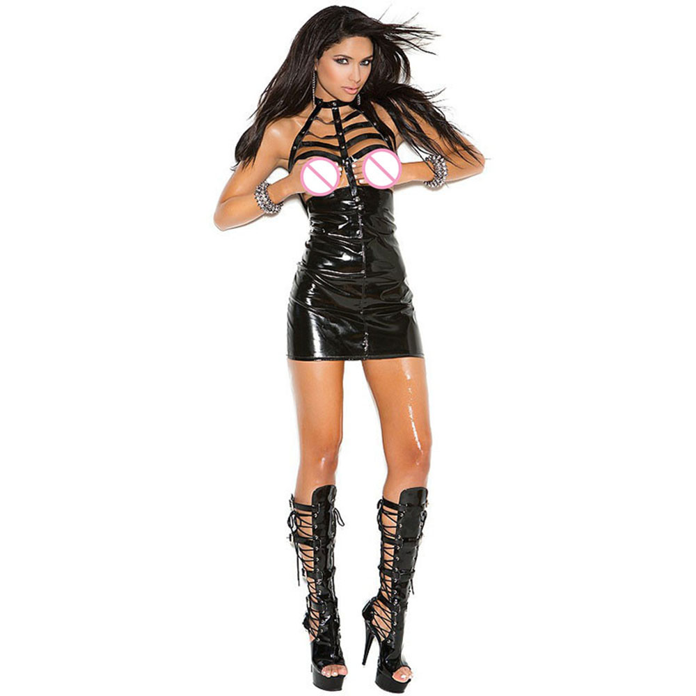 Summer Women Black Faux Leather Bodycon Mini Dress V-neck Transparent Mesh Fetish Erotic Leather Babydoll Clubwear Vestidos Women's Clothing