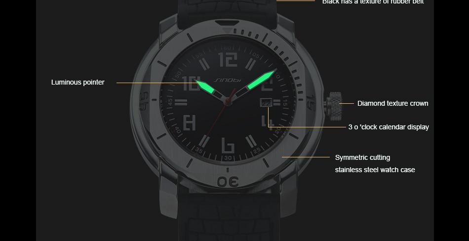 SINOBI Surfing Clock 3Bar Waterproof Watch Mens Sports Wristwatch Designer Branded Chronograph Male Spy Geneva Quartz-watch 007 19