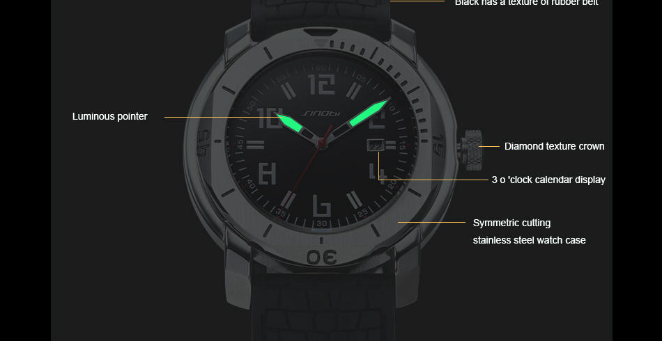 SINOBI Surfing Clock 3Bar Waterproof Watch Mens Sports Wristwatch Designer Branded Chronograph Male Spy Geneva Quartz-watch 007 19