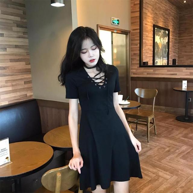 Women Lace Waist Thin V Neck Black Dress Summer Office Beach Womens