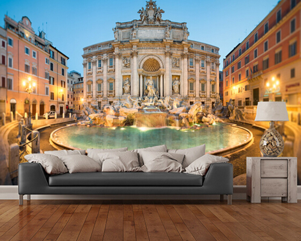 Custom photo wallpaper, Trevi Fountain 3 d wallpaper murals for the sitting room the bedroom TV setting wall PVC wallpaper darice 2463 54 plastic metallic christmas bulbs 1 12 pkg multicolor