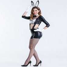Free shipping sexy Black rabbit girl lacquer skin cute Cosplay bar DS Bunny suit performance clothes