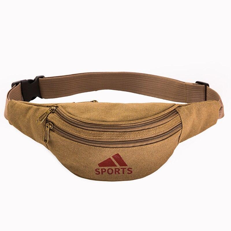 2019 Men Casual Durable Fanny Waist Pack Waist Bags Military Canvas Three Zipper Pouch Packs 105cm Belt Length Factory OEM