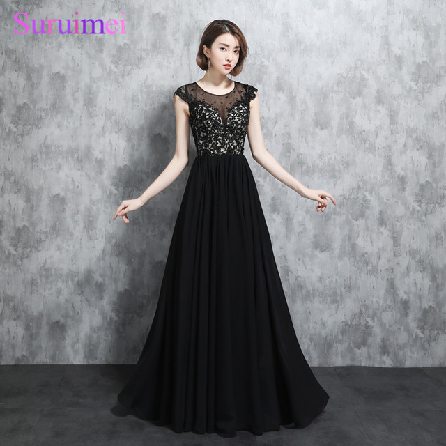 Real Photo New Arrival Black White Evening Dresses Chiffon Short Cap Sleeves Sexy Nude See Through Applique Long