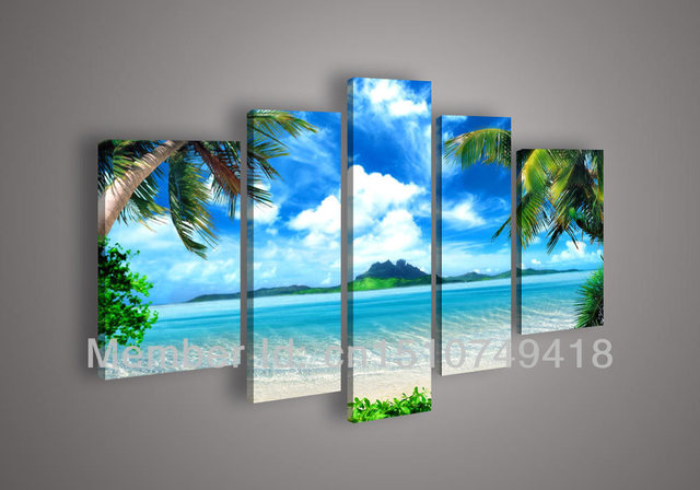 Hand Painted Modern Wall Art Living Room Hall Decor Realistic Azure Sky Ocean White Clouds