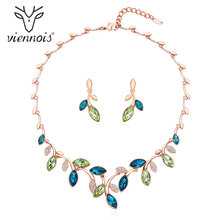 Viennois Crystal Jewelry Set Necklace and Stud Earrings Jewelry Set for Women Rhinestone Leaf Jewelry Set Fashion Jewelry
