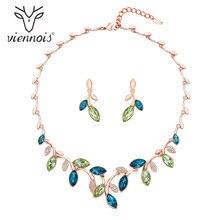 Viennois conjunto de joyería de cristal collar y pendientes de tuerca conjunto de joyería para mujer Rhinestone hoja joyas conjunto joyería de moda