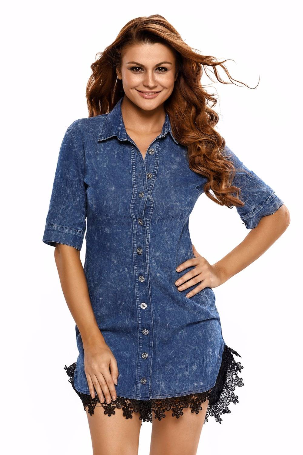 джинсовое платье с кружевом своими руками фото включает