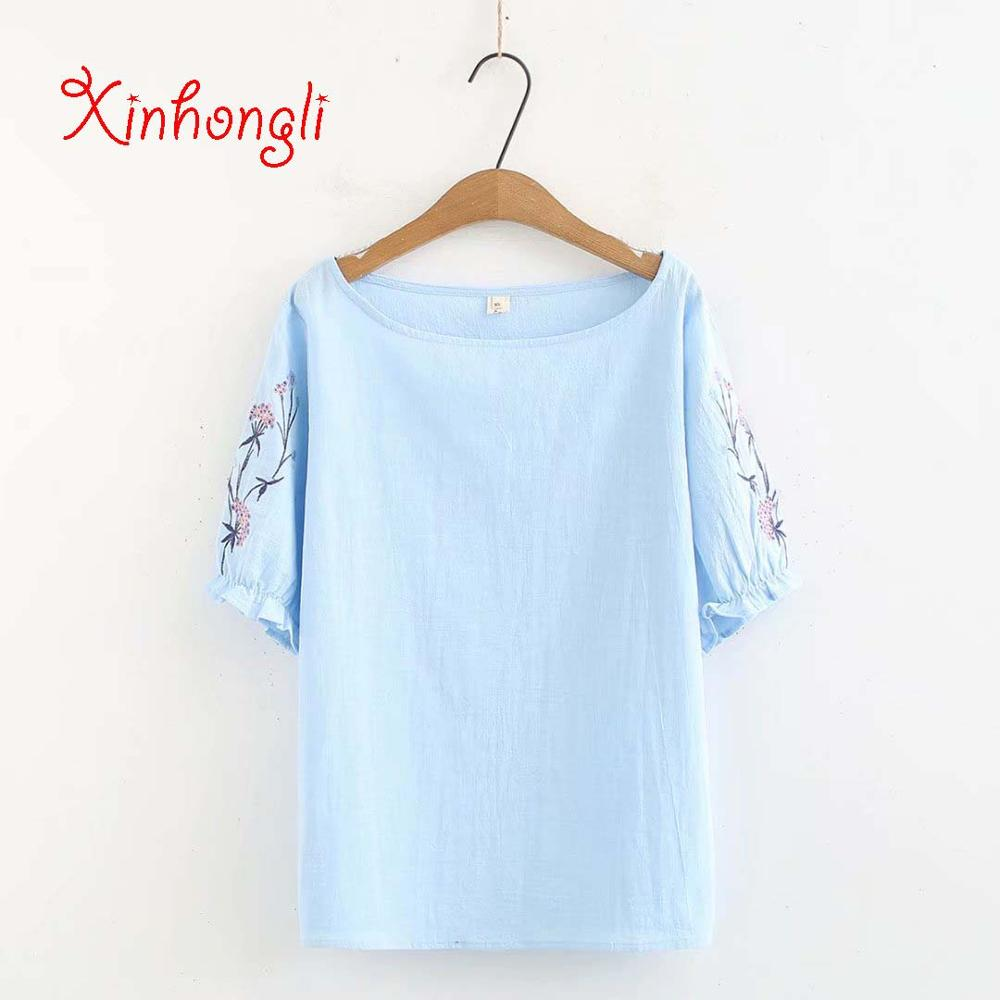 slash neck Embroidered cotton women tshirts 2019 sky blue & pink summer tee shirts femme short sleeve ladies t-shirt Plus size