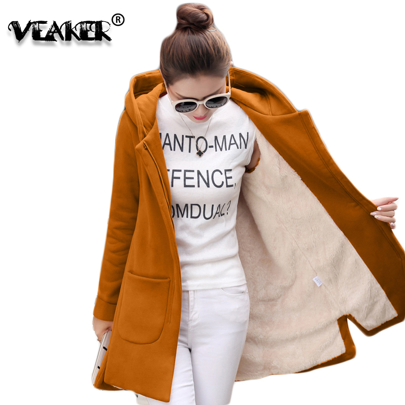 2018 Autumn Winter Women's Fleece Jacket Coats Female Long Hooded Coats Outerwear Warm Thick Female Red Slim Fit Hoodies Jackets