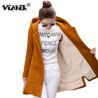 2018 outono inverno casaco de lã feminino casacos feminino longo com capuz casacos outerwear quente grosso feminino vermelho fino ajuste hoodies jaquetas