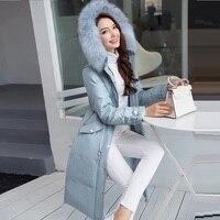 2016Winter Elegant Long Down Jacket Coat Embossed Taffeta Women Parkas Female Thicken Warm Overcoat Outwear Plus