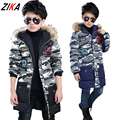 ZiKa New Children's Clothing Male Winter Cotton-padded Jackets Kids Warm Camouflage Jacket Boys Thicken Hooded Coat Fur Outwear