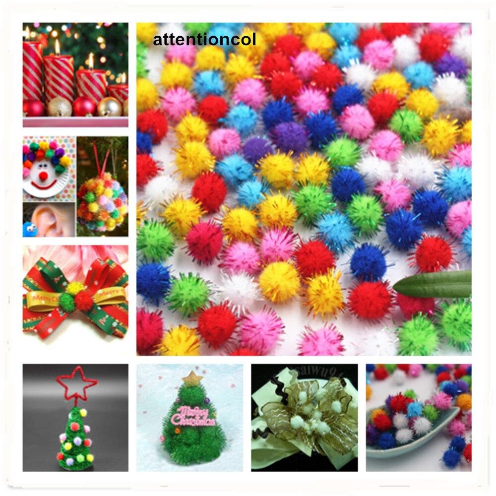 0.6$ New 100pcs/lot Gold thread Fluffy 10mm Multi option Pompoms Soft Pom Poms balls DIY Wedding Decor Accessories