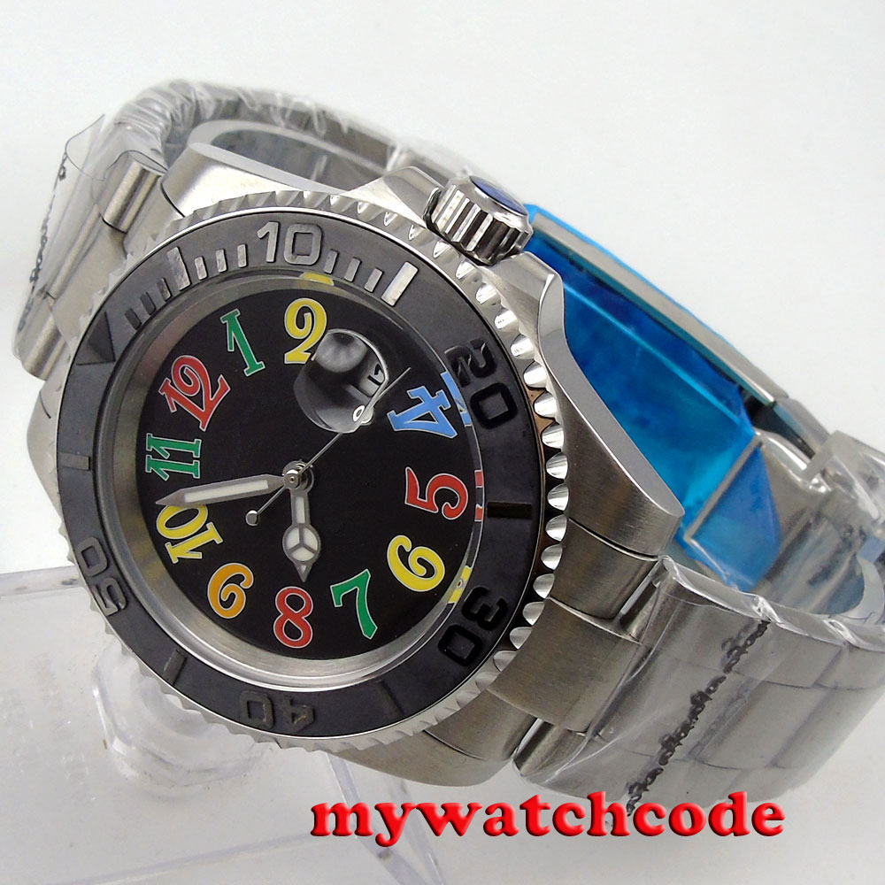 40mm parnis black colorful dial date sapphire crystal automatic mens watch P94 цена и фото