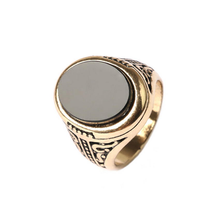 Vintage Mens Rings New Arrival GoldSilver Plated Carved Big Stone