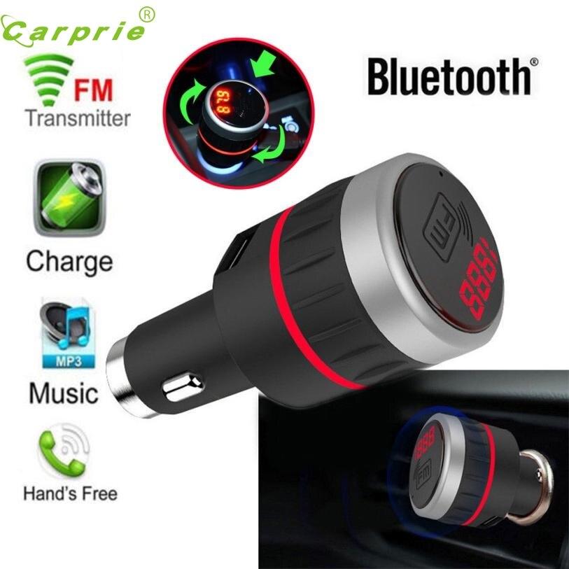 imágenes para Nueva Llegada estilo de coche Bluetooth Car Kit Reproductor MP3 Transmisor Fm Manos Libres Con El Cargador Del USB AUX mr21