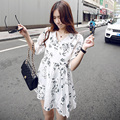2017 Summer Women Cute Casual Floral Printed Chiffon Dresses Half Sleeve Ruggles Temperament Mini Dress Vestidos De Festa