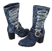 2016 New Arrival Mid-calf Blue Jeans Boots Cool Appliques Denim Boots For Women Short Cowboy Boots Shoes Woman