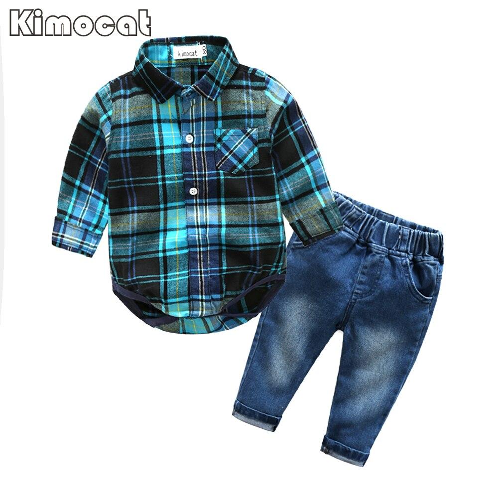 Lindo bebé Bebé Ropa azul a cuadros jumpsuit + Vaqueros manga larga del Bebé Ropa del bebé
