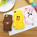 KISSCASE For iPhone 6 6s 7 Plus Case Line Friends Lovers Girly 3D Cartoon Back Cover Cute Soft Silicone Protective Coque Shells