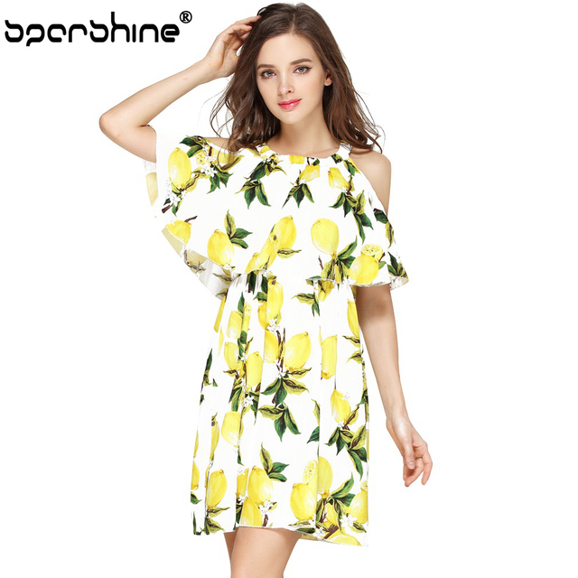 119b733e8b9 2018 Off The Shoulder Floral Lemon Printed Dress Women Vintage Female  Summer Dresses Ladies Fashion Party Casual White Vestidos