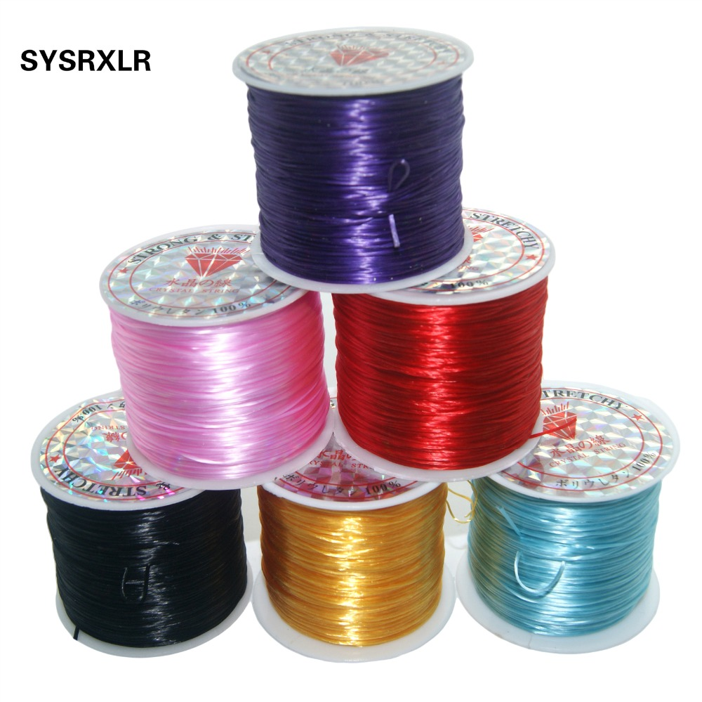 60M/Roll 1MM 8 Species Colorful Stretchy Elastic Rope Cord Crystal String For Jewelry Making Beading Bracelet Wire Rope