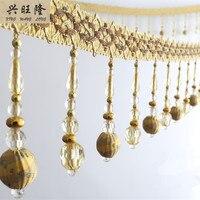 XWL 6M Lot 11cm Wide Beaded Fringe Lace Trim Curtain Accessories DIY Lamp Sofa Stage Decorative