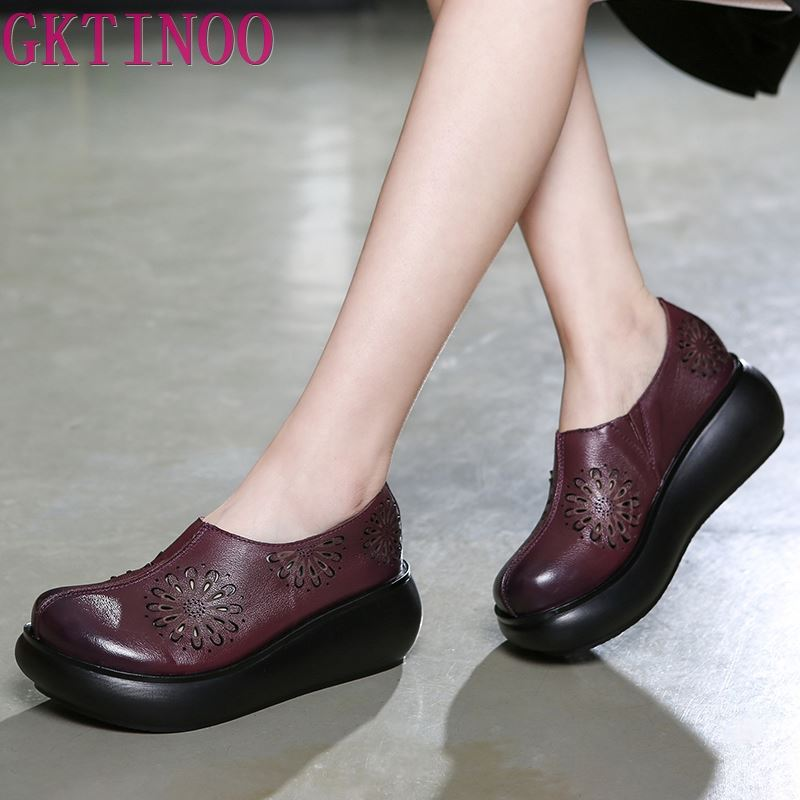 GKTINOO Genuine Leather Women Shoes High Heels Summer Shoes Hollow Out Pumps Flower Leather Women Wedge